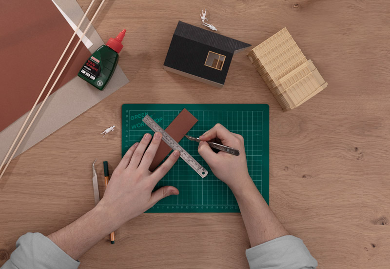 Making architecture models with knife and cutting mat