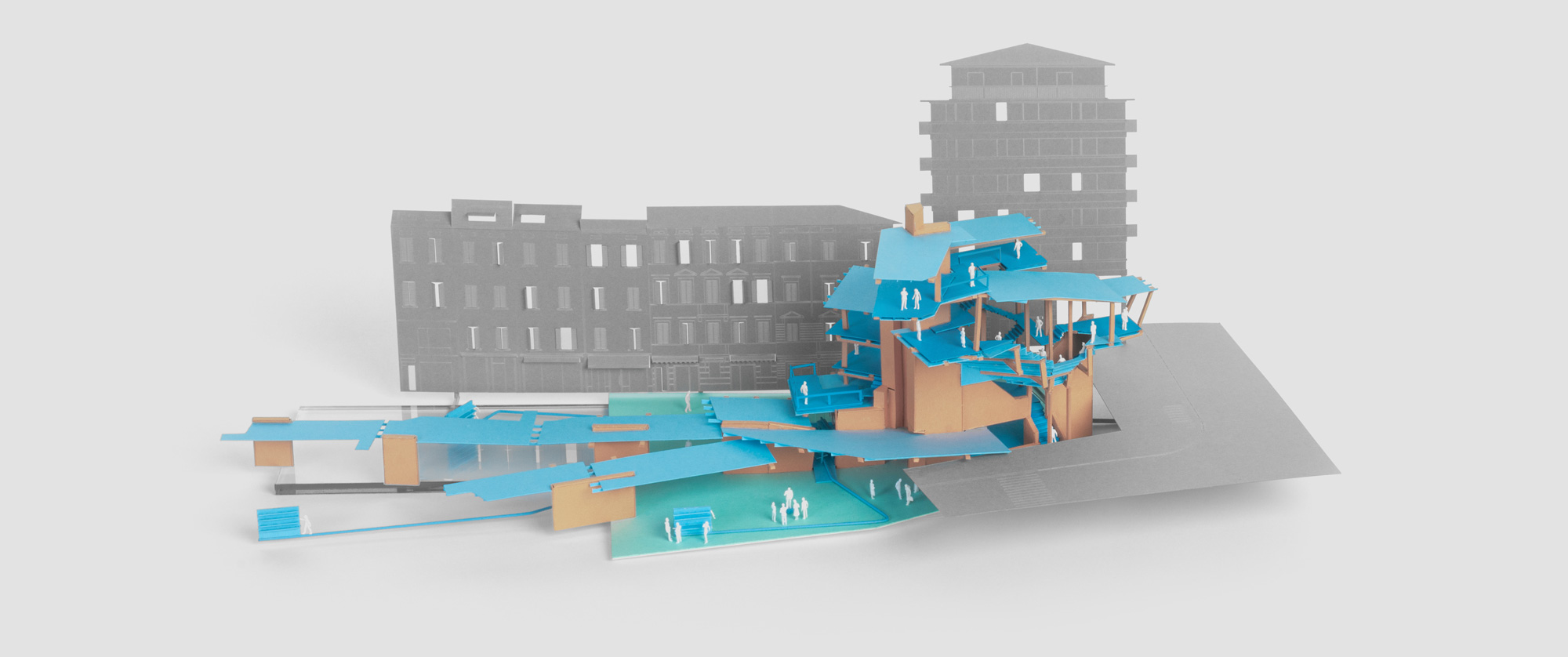 Architecture model made from card