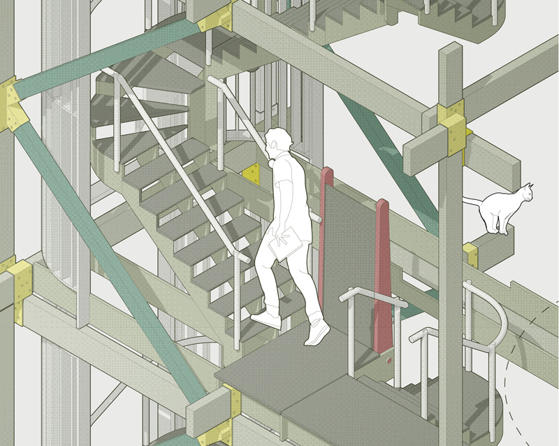 Architecture drawing and render of a staircase